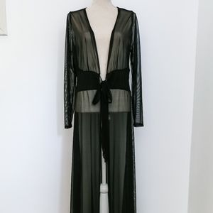 Full Length Long Sleeve Belted Duster Jacket